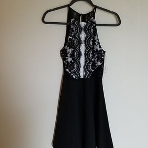 Want and Need Black Lace Halter Dress NWT XS